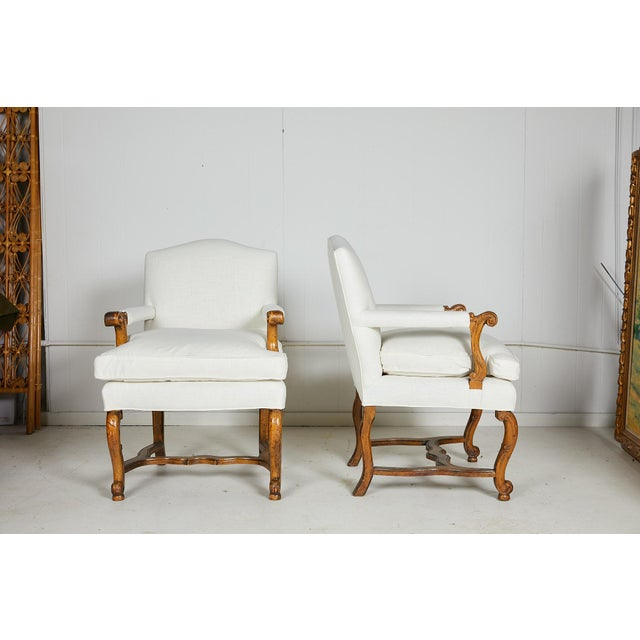 Hollywood Regency Pair of Italian Armchairs For Sale - Image 3 of 13