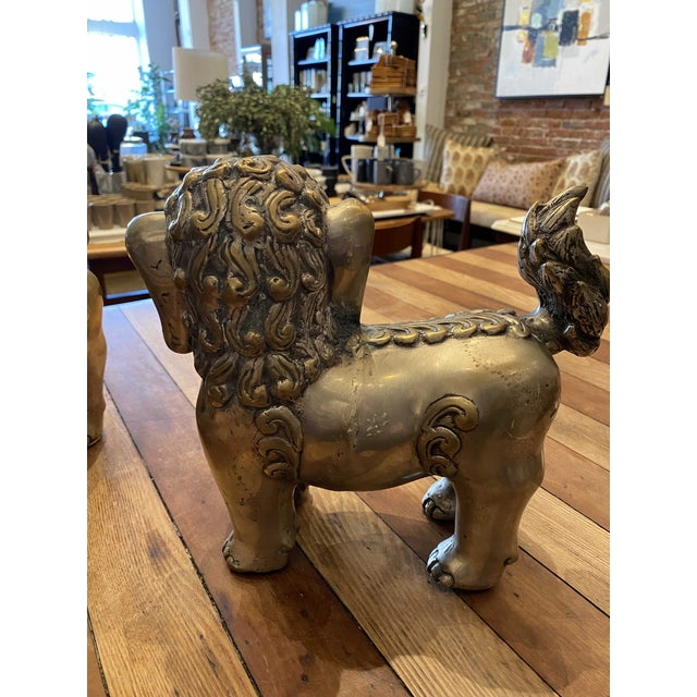 Mid 20th Century Vintage Brass Foo Lion Dogs For Sale - Image 5 of 6