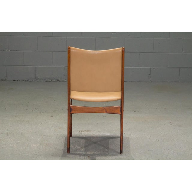 1960s Vintage Danish Modern Rosewood & Leather Dining Chairs- Set of 4 For Sale - Image 4 of 13