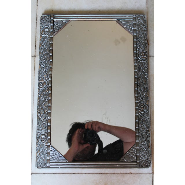 Antique French Art Deco Carved Wood Distressed Silver Wall Mirror C1920's For Sale - Image 10 of 10