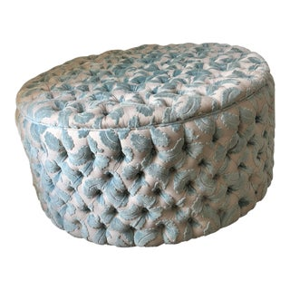 Traditional Patterned Sky Blue Upholstered Tufted Ottoman For Sale