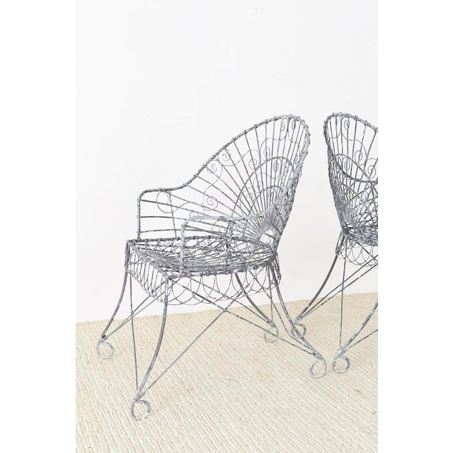 Early 20th Century Set of Four French Iron and Wire Garden Chairs For Sale - Image 5 of 13
