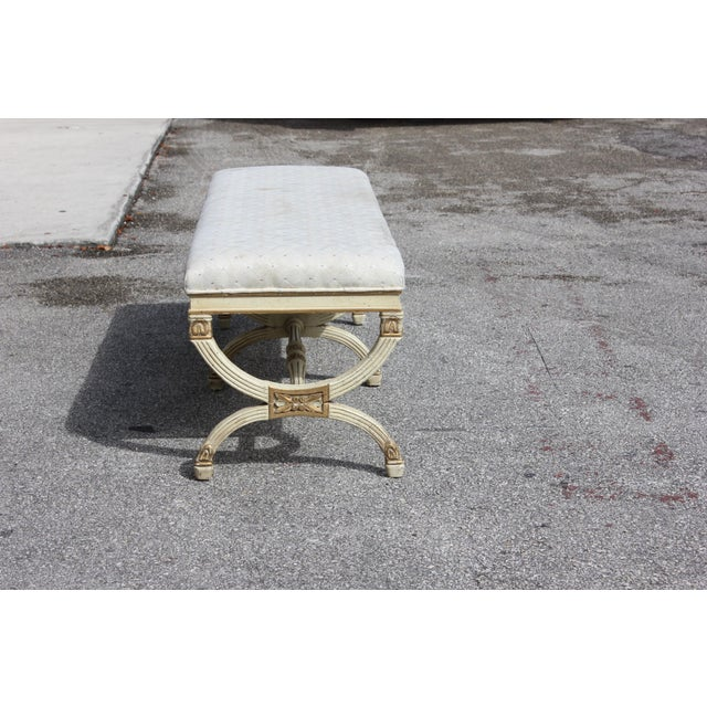 Beautiful French Louis XVI Barrel Legs Benches made of mahogany, the mahogany wood has been painted beige With gold leaf (...