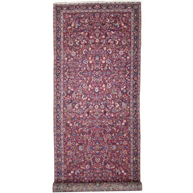 Blue Antique Persian Mashad Extra Long Hallway Runner For Sale - Image 8 of 8