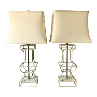 Celerie Kemble Maitland-Smith Hammer Shell and Brass Table Lamps, Set of 2 For Sale