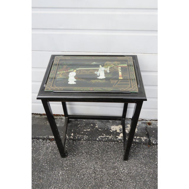 Black Oriental Black Painted Nesting Tables Set of Four For Sale - Image 8 of 13
