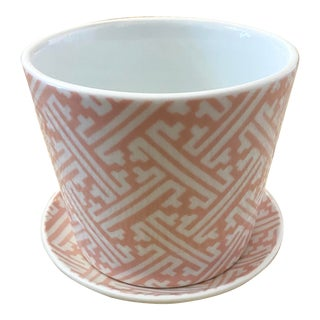 Vintage Fitz & Floyd Chinese Chippendale Blush Pink Planter For Sale