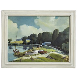 Vintage Painting of Sailboats For Sale