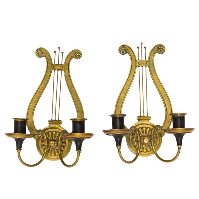Brass Lyre Sconces - a Pair For Sale