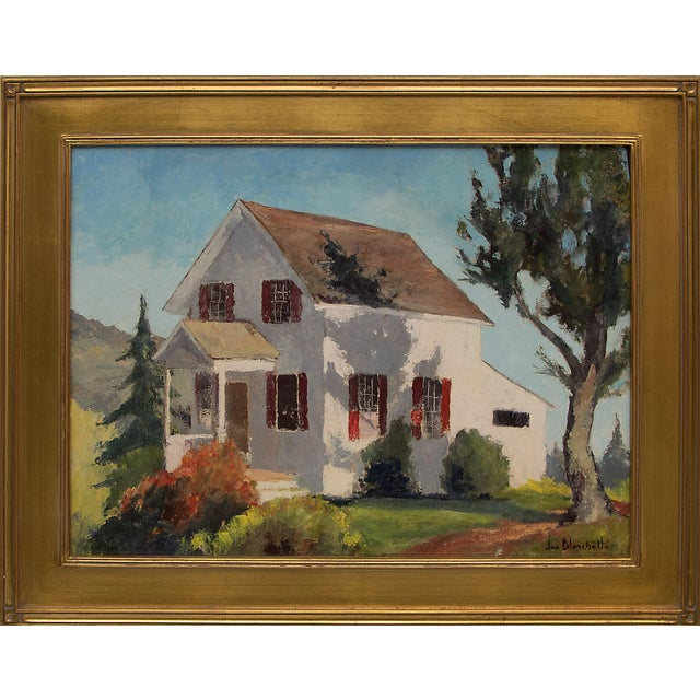 """""""The School Master's House"""" California Original Framed Vintage Oil Painting by Jon Blanchette (1908-1987) For Sale - Image 9 of 9"""