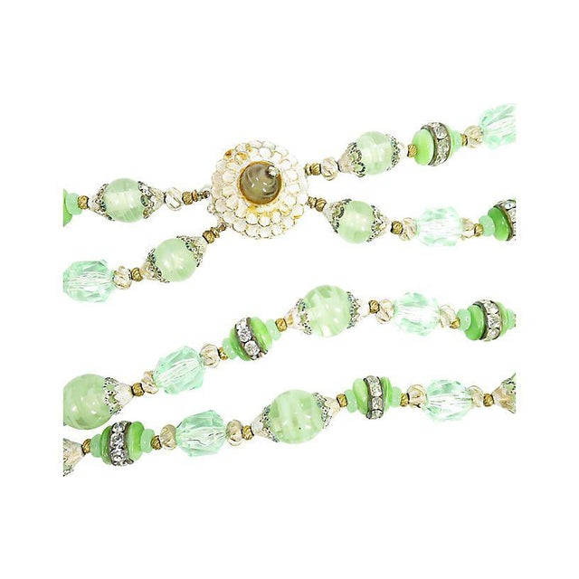 Green Art Glass & Crystal Necklace, 1950s For Sale In Los Angeles - Image 6 of 8