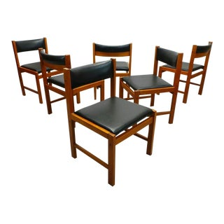 1970s Danish Modern Reupholstered Teak and Black Leatherette Dining Chairs - Set of 6 For Sale