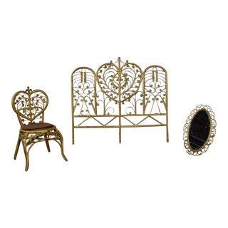 Hollywood Regency Gold Wicker Headboard Heart Chair & Mirror For Sale