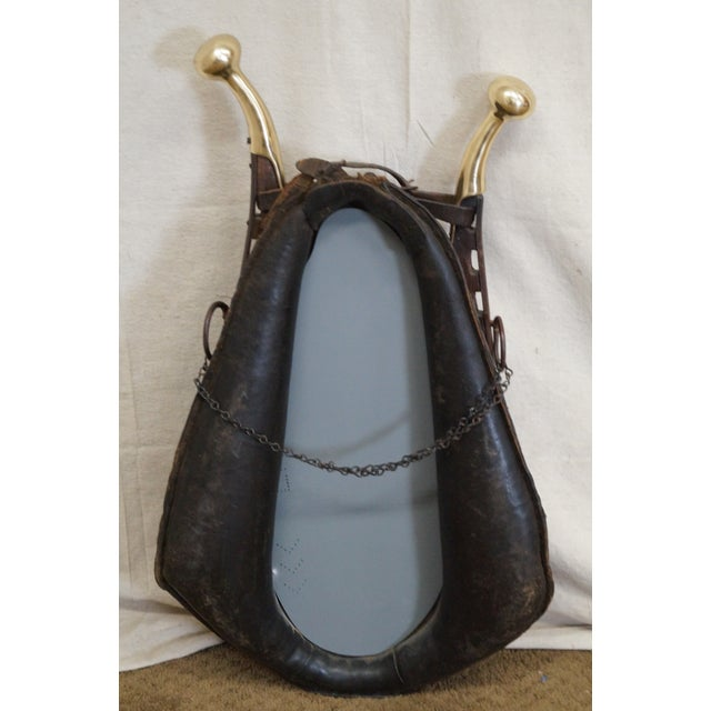 Antique English Leather & Brass Horse Collar Mirror For Sale - Image 4 of 10