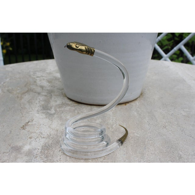 Alessandro Albrizzi Coiled Lucite & Brass Snake - Image 2 of 10