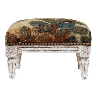19th Century French Louis XVI Hand-Painted Footstool With Aubusson Tapestry For Sale