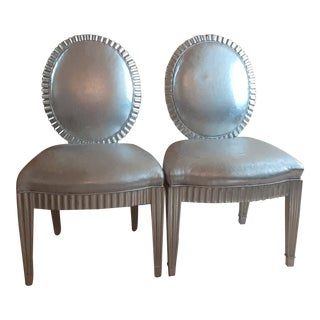 Late 20th Century Donghia Grand Soleil Fluted Custom Silver Leaf and Leather Iconic Accent Chairs - a Pair For Sale