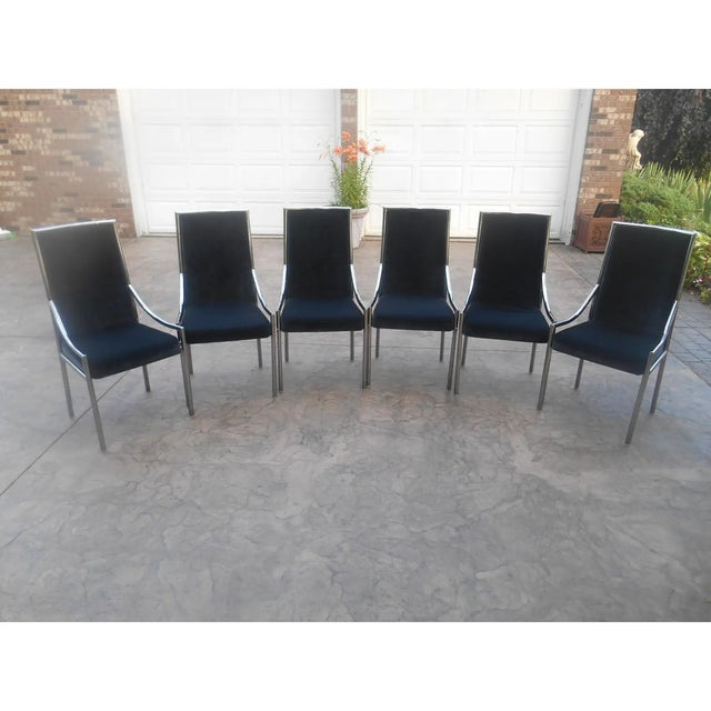 Mid-Century Modern Chrome & Glass Expandable Dining Table Set - 7 Pieces For Sale - Image 4 of 7
