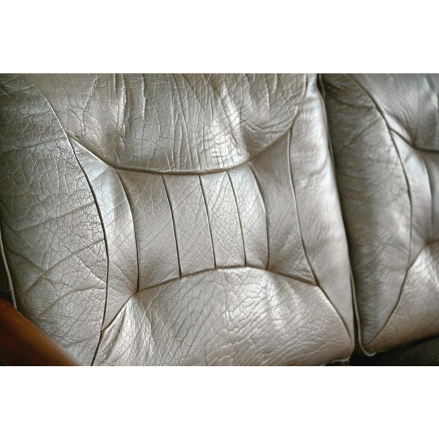 Torbjørn Afdal Settee in Olive Colored Leather and Woven Cane for Bruksbo, 1960s For Sale In New York - Image 6 of 13