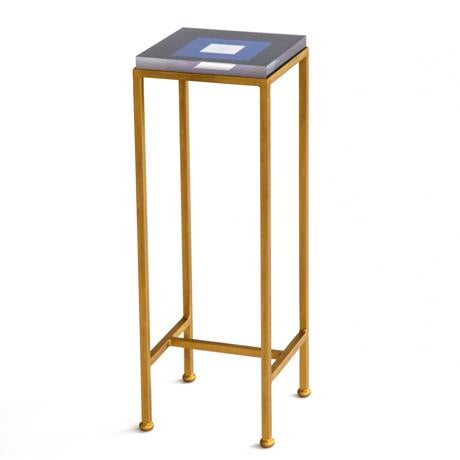 Wendy Concannon Contemporary Ellsworth Acrylic Drinks Table – Base: Gold, Top: Squares Navy/White For Sale - Image 4 of 4