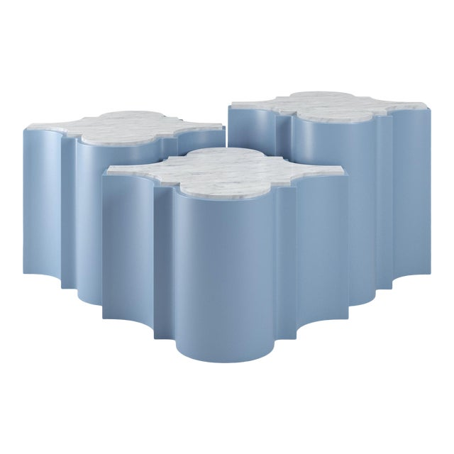 Sofia Nesting Tables, Set of 3 - Summer Mist Blue For Sale