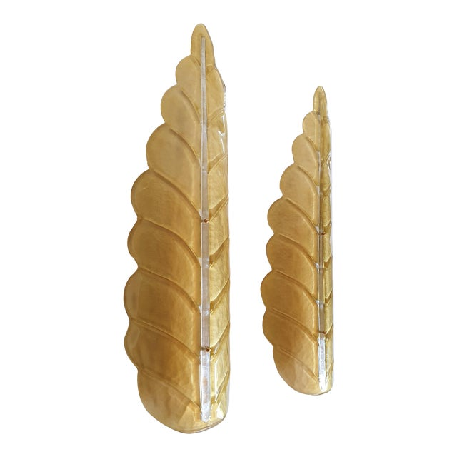 Hollywood Regency Pair of Large Leaf Murano Glass Mid Century Modern Sconces by Barovier, 1970s For Sale - Image 3 of 11