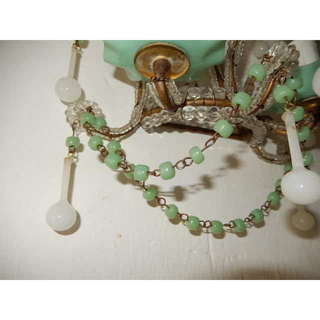 Glass French Rare Sea Foam Green Opaline Sconces, circa 1920 For Sale - Image 7 of 12
