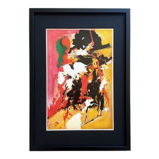 """Hand Hofmann Rare Vintage 1976 1st Edtn Mid Century Modern Abstract Expressionist Framed Lithograph Print """" Effervescence """" 1944 For Sale"""