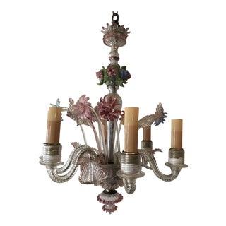 Hand Blown Venetian Art Glass Chandelier For Sale