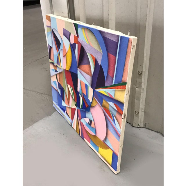 Vibrantly colorful geometric abstract painting signed Susan Johnson. Composition is dynamic and active. Very nicely...