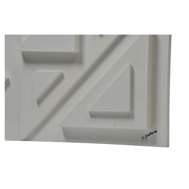 Modern Vector Multi-Level White Wood Wall Panel For Sale - Image 3 of 4