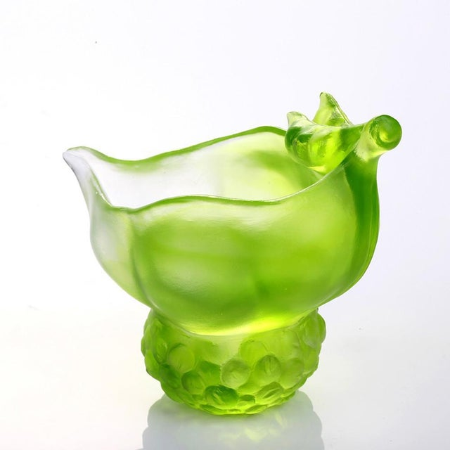 """LIULI Crystal Art Crystal """"Propitious Abundance"""" Limited Edition Peas Desk Decor in Clear Green For Sale - Image 4 of 4"""
