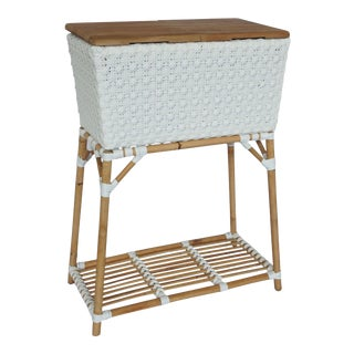 Madrid Party Bucket w/Teak Cutting Board Top, White, Rattan For Sale