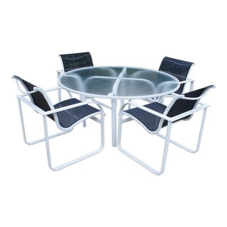 1980s Contemporary Brown Jordan Quantum 54in Round Table Dining Set - 5 Pieces For Sale