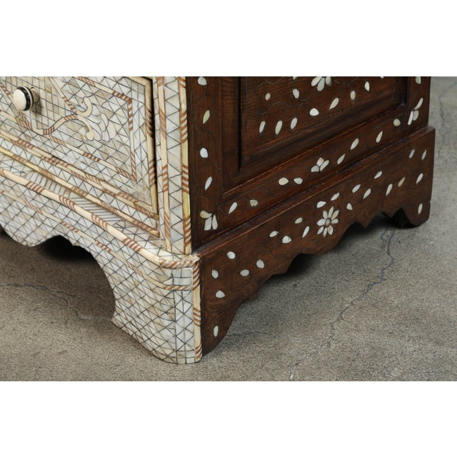Antique White 20th Century Syrian White Mother-Of-Pearl Inlay Wedding Dresser For Sale - Image 8 of 9