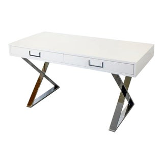 1960s Milo Baughman Mid-Century Modern Campaign White Lacquer Chrome X Base Desk For Sale