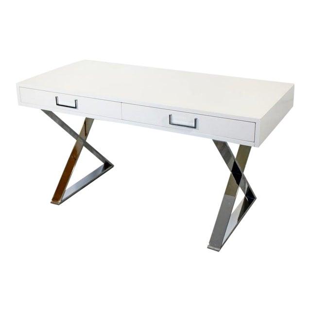 1960s Milo Baughman Mid-Century Modern Campaign White Lacquer Chrome X Base Desk For Sale