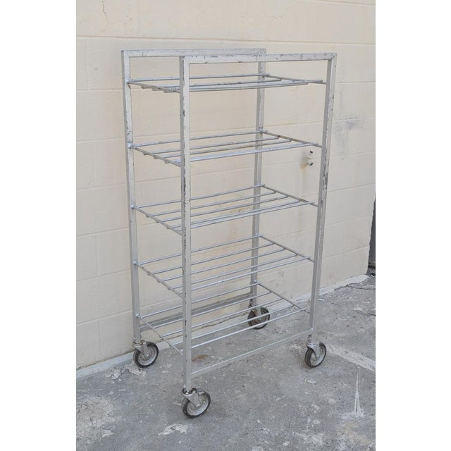 Item: Vintage Industrial Metal Rolling 5 Tier Bakery Cart / Display Stand Details: Five shelves, wheels Age: Mid 20th...