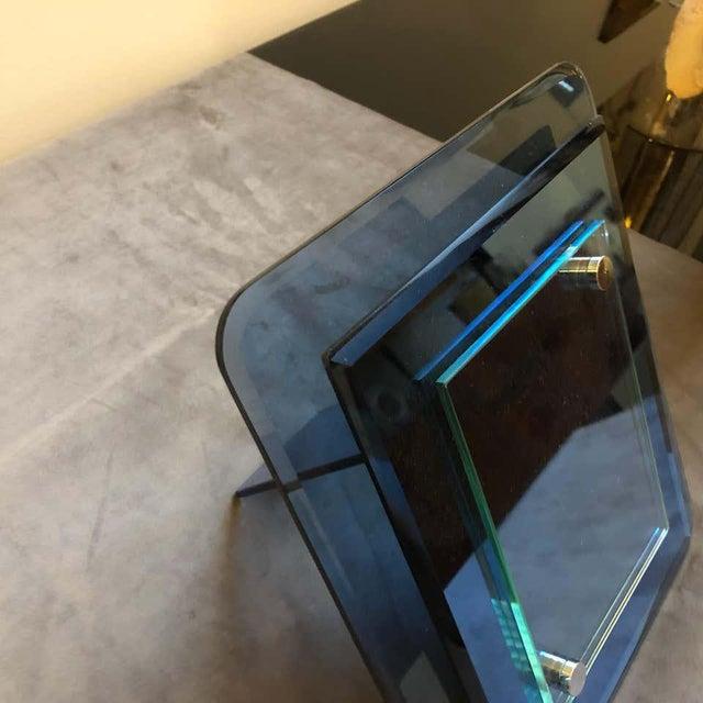 Cristal Arte 1970s Italian Vintage Cristal Arte Blue Glass Photo Frame For Sale - Image 4 of 13