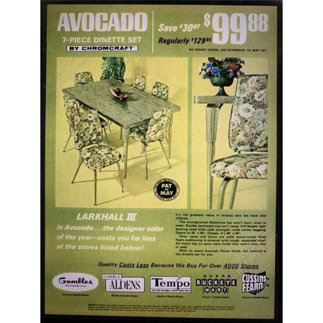 Chromecraft Mid-Century Modern Green Upholstered Dinette Set - 7 Pieces For Sale - Image 10 of 11