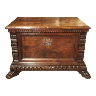 Small 17th Century and Later Walnut Wood Trunk From Northern Italy For Sale