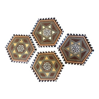 1990s Star-Of-David Inlay Hexagonal Coasters - Set of 4 For Sale