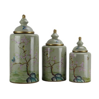 Pasargad DC Modern Contemporary Turquoise Floral Porcelain Jars - Set of 3 For Sale