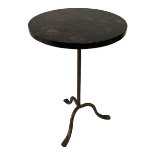 Tortoise Shell Top and Hammered Gilt Metal Accent Table For Sale