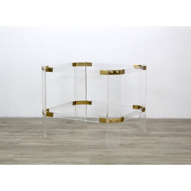 Vintage Brass and Lucite Side Table For Sale In Miami - Image 6 of 6