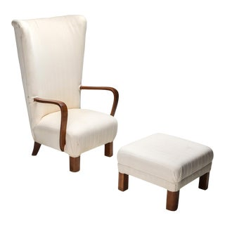 Danish White High Back Lounge Chair with Pouf For Sale