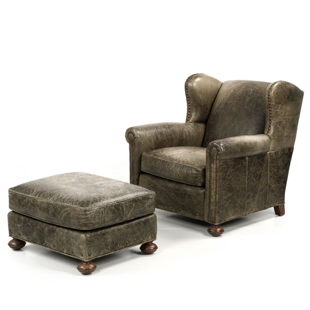 Regency Style Green Leather Club Chair and Ottoman - Image 2 of 11