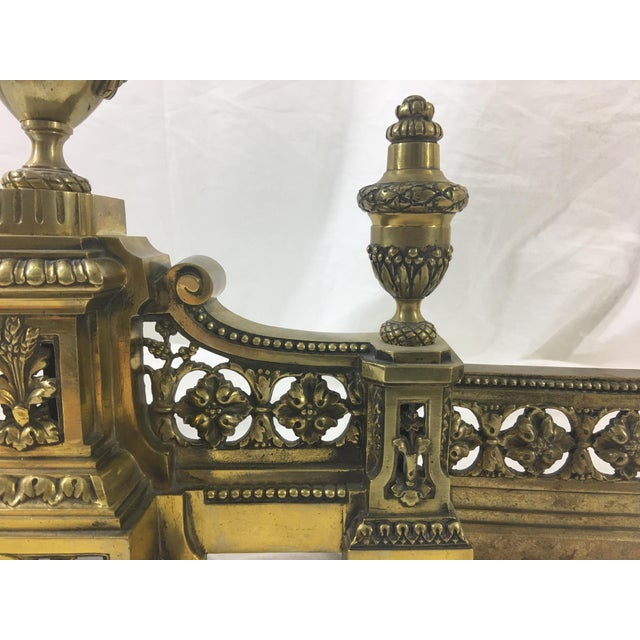 French Louis XVI Brass Chenet - 3 Pieces For Sale - Image 4 of 10
