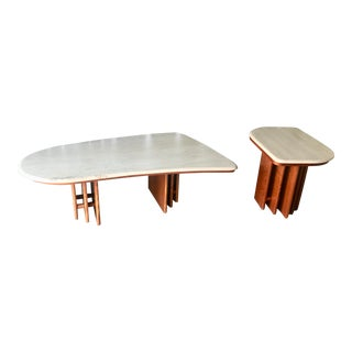 Modern Travertine Coffee and End Table Set - 2 Pieces For Sale