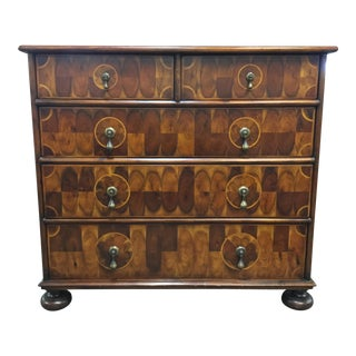 Vintage Mid-Century Deco Style Quilted Tiger Wood Block Patterned Chest of Drawers For Sale
